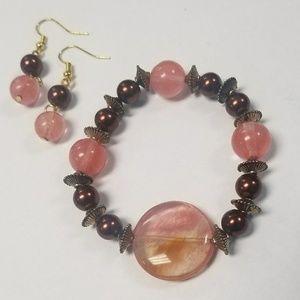 Handmade Rose Quartz & Chocolate Pearls Bracelet